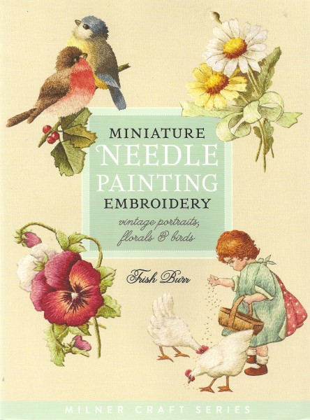 Miniature  Needle Painting Embroidery   vintage portraits, florals & birds