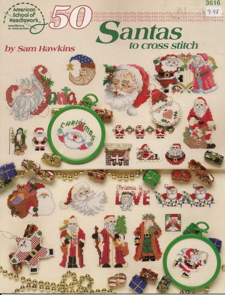 50 Santas to cross stitch